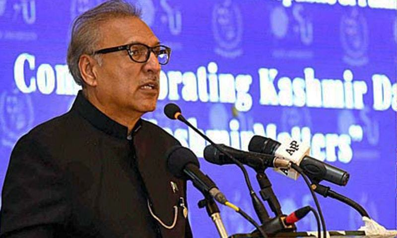 "President Dr Arif Alvi addressing the seminar ""Kashmir Matters"" to commemorate the Kashmir Solidarity Day at Aiwan-e-Saddar. — APP"