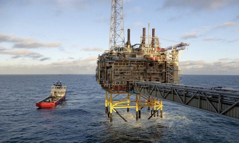 In this file photo, an offshore platform of Norwegian oil and gas company, Statoil, is seen near Stavanger, Norway.