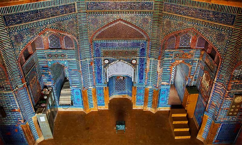 A view of the main hall of Shah Jahan Mosque from a window in the dome on the roof. ─ Photo courtesy Saira Faruqi