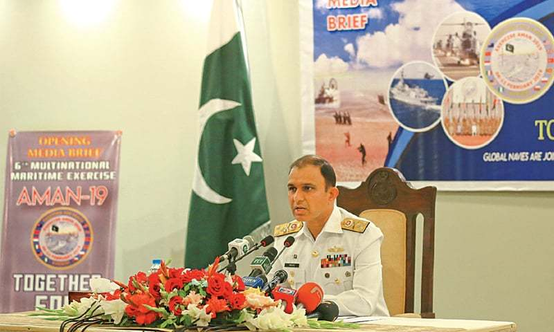 Commander Pakistan Fleet Vice Admiral Amjad Khan Niazi speaking to the media regarding Aman-19 exercise in Karachi. —White Star