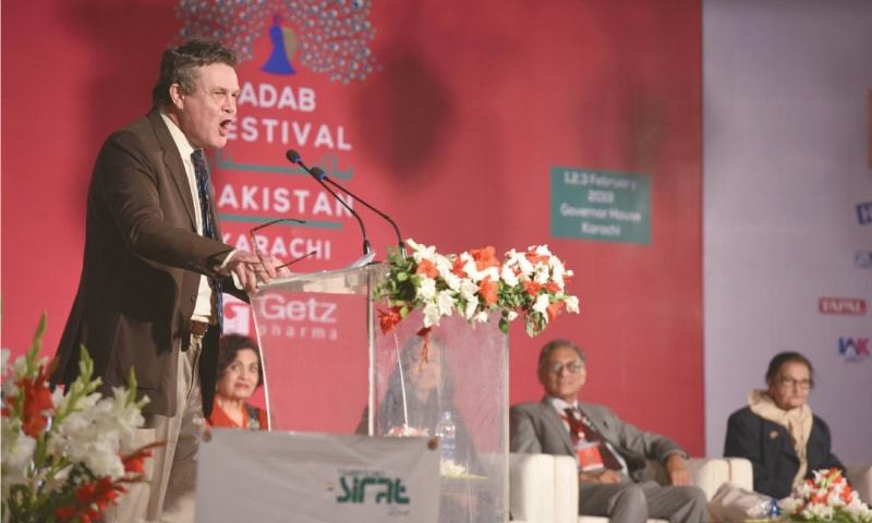 Peter Oborne — British broadcaster, former chief political commentator of The Daily Telegraph  and author of Wounded Tiger: A History of Cricket in Pakistan — delivers the keynote speech at  the festival | Tahir Jamal/White Star