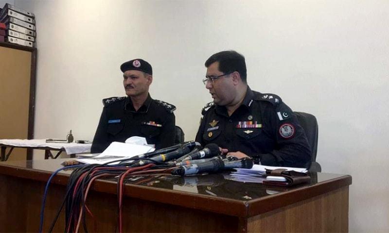 East SSP Azfar Mahesar held a press conference following the suspect's arrest. — Photo courtesy: Karachi police
