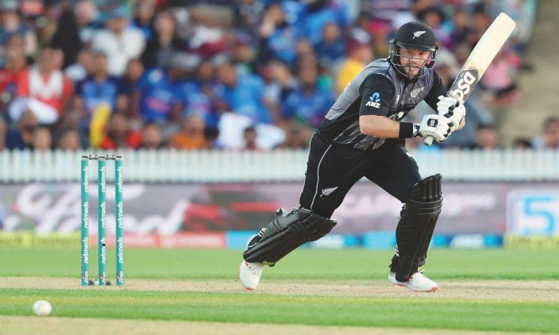 HAMILTON: New Zealand opener Colin Munro plays a shot during the third Twenty20 International against India at Seddon Park on Sunday.—AFP