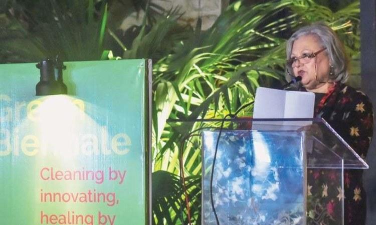 Niilofur Farrukh speaks at the event on Saturday.—White Star