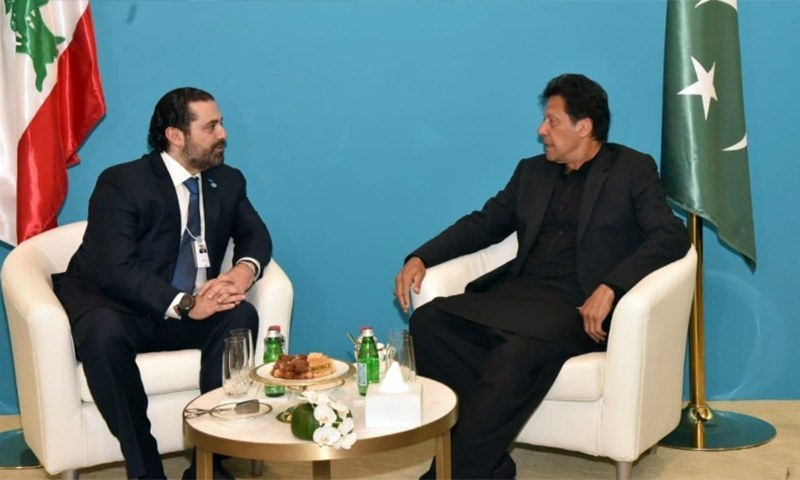 Prime Minister Imran Khan met his Lebanese counterpart Saad Hariri on the sidelines of the World Government Summit in Dubai on Sunday. — Photo courtesy: PTI Twitter
