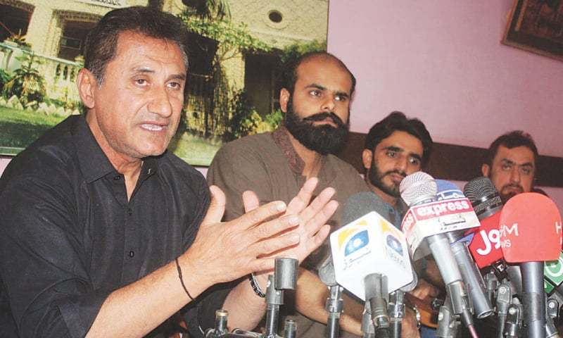 PMA general secretary Dr Pir Manzoor speaks at the press conference in Hyderabad on Monday.—Online