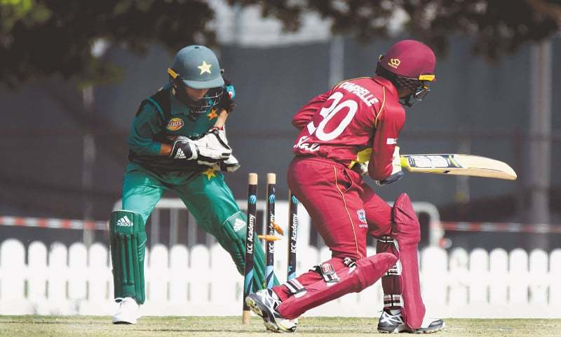 DUBAI: West Indies' batter Shemaine Campbelle is stumped by Pakistan wicket-keeper Sidra Nawaz during the third One-day International at the ICC Academy on Monday.—Courtesy PCB