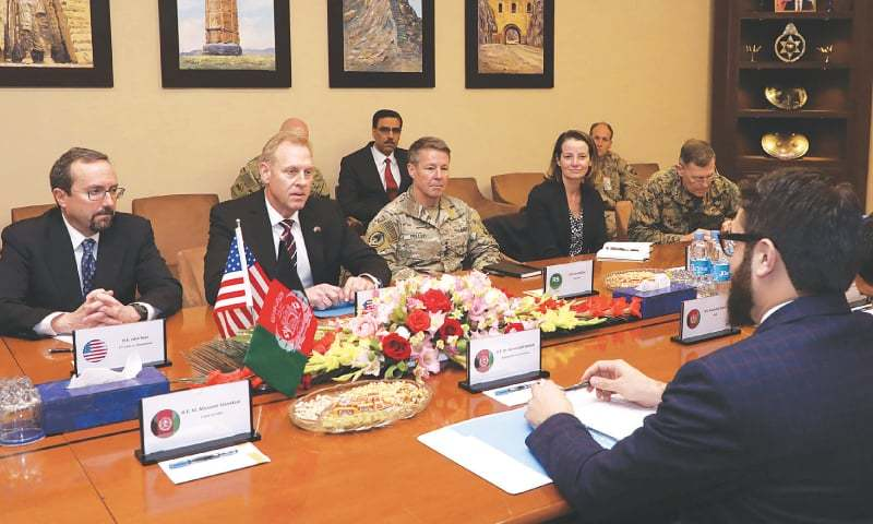 Kabul: Acting Pentagon chief Patrick Shanahan (centre left) takes part in a meeting with Afghan National Security Adviser Hamdullah Mohib on Monday.—AFP