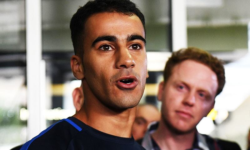 Footballer Hakeem al-Araibi speaks to the media upon his arrival at the airport in Melbourne.—  AFP