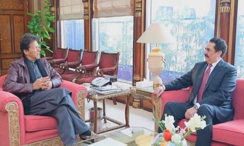 Raheel Sharif called on PM Imran Khan on Tuesday. — DawnNewsTV