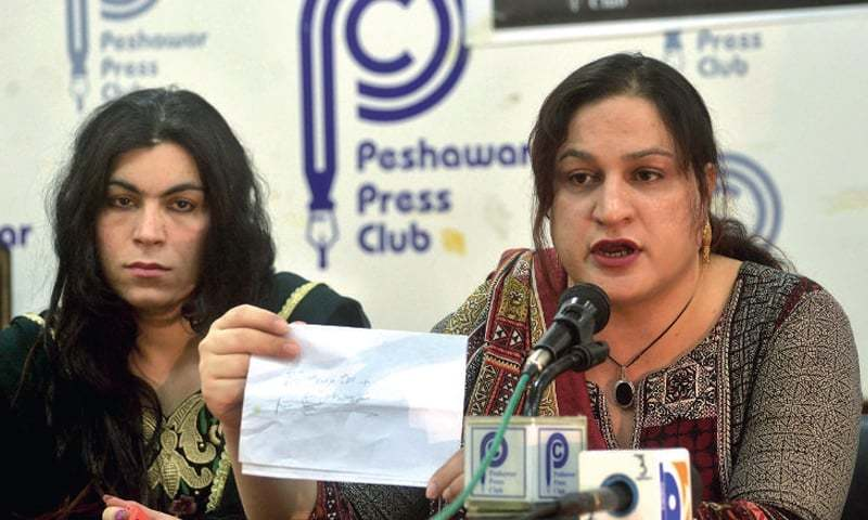 Office-bearers of TransAction, the association of transgender community, addresses mediapersons at Peshawar Press Club on Tuesday. — White Star