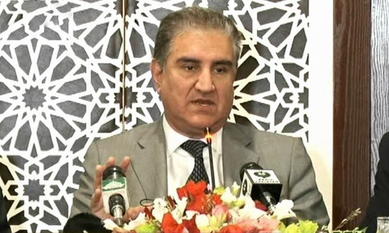 Foreign Minister Shah Mahmood Qureshi addresses a press conference in Islamabad on Wednesday. — DawnNewsTV