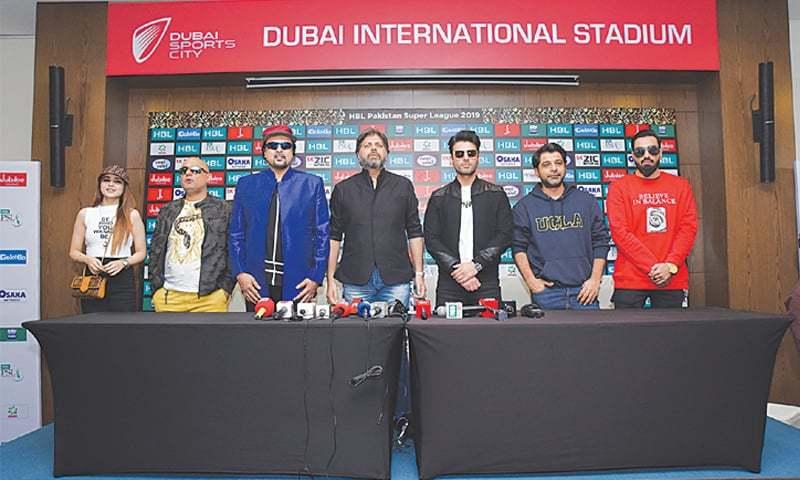 DUBAI: Showbiz personalities (from left) Aima Baig, Junoon's Ali Azmat and Salman Ahmed, PCB's Sohaib Shaikh, Fawad Khan, Shuja Haider and Young Desi during the media briefing on Wednesday.—courtesy PCB