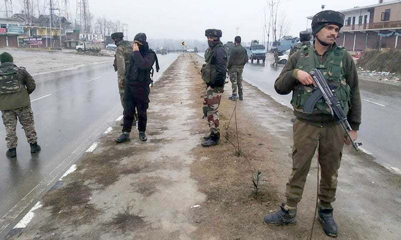 Indian paramilitary soldiers patrol near the site of an explosion in Pampore, occupied Kashmir, Thursday, Feb 14, 2019. — AP