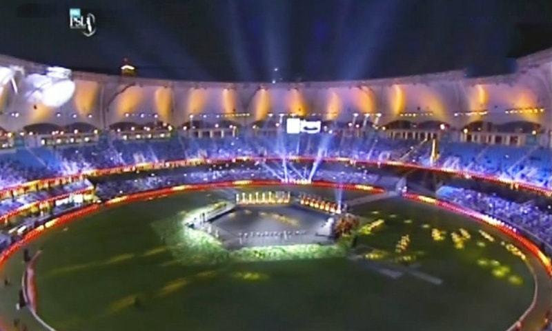 PSL opening ceremony takes place at the Dubai International Stadium. — DawnNewsTV