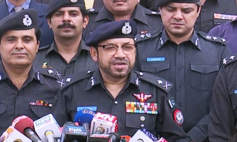 The IG asked the officers to start flag march at provincial level in order to create a sense of security among people. — DawnNewsTV/File