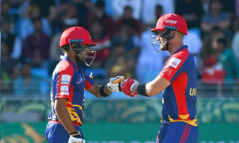Babar Azam and Liam Livingstone in action. — PSL