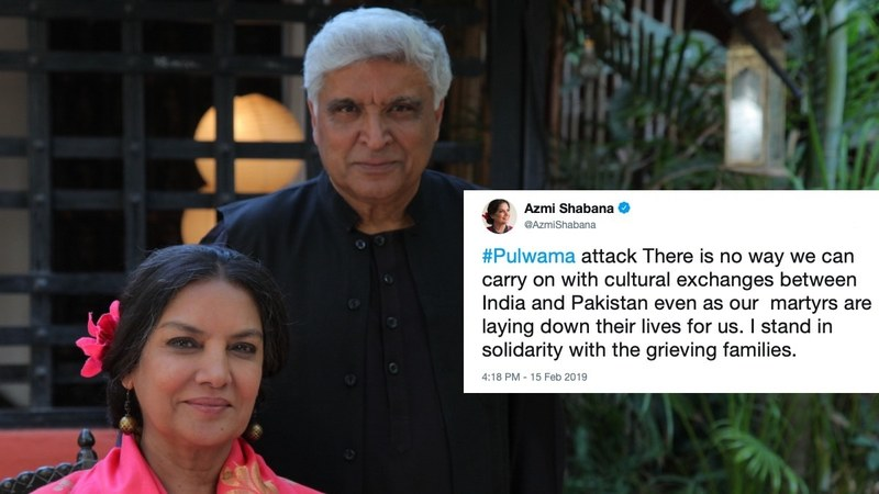 """There is no way we can carry on with cultural exchanges between India and Pakistan,"" tweeted Azmi"