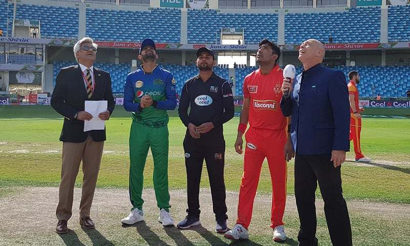 Multan Sultans have won the toss and decided to bowl first against Islamabad United. — Photo courtesy Pakistan Super League Twitter