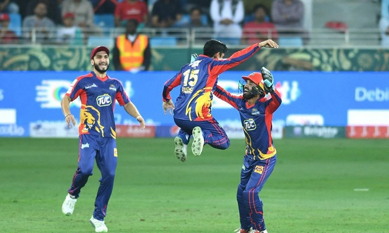 Young Umer Khan celebrates the dismissal of AB de Villiers. — PSL