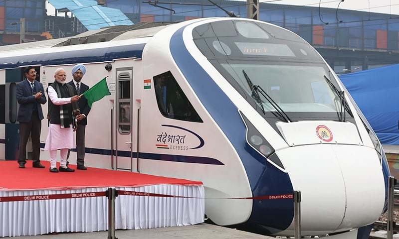 In this photo taken on February 15, 2019, Indian Prime Minister Narendra Modi (2nd L) flags off India's first semi-high speed express train Vande Bharat Express at New Delhi Railway Station. —AFP
