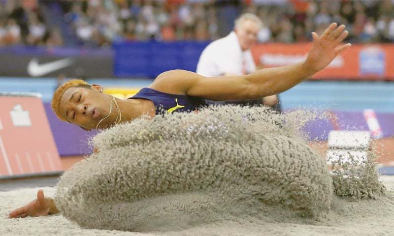 BIRMINGHAM: Cuba's Juan Miguel Echevarria competes on his way to winning the men's long jump at the Birmingham Indoor Grand Prix.—Reuters