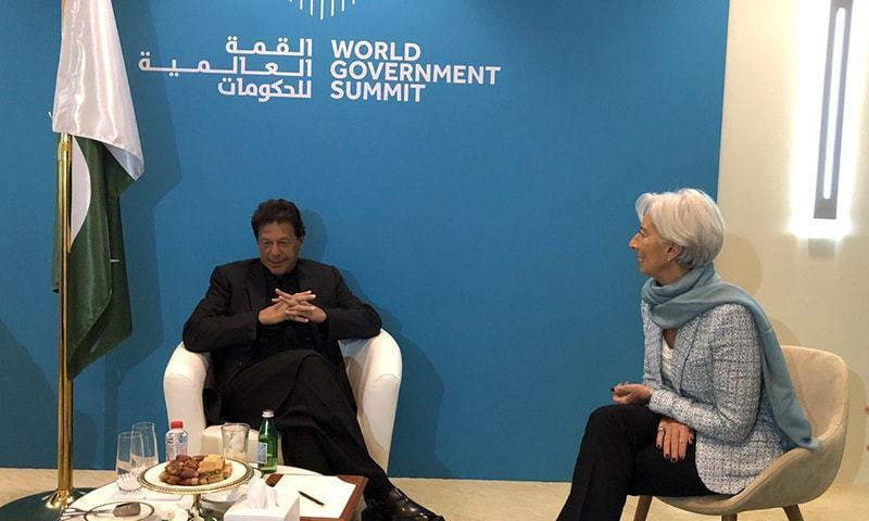 Prime Minister Imran Khan in a meeting with IMF chief Christine Lagarde in Dubai. — Photo courtesy Christine Lagarde's Twitter account