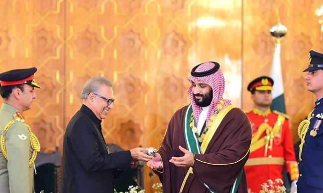 The ceremony in Saudi Crown Prince Mohammad bin Salman's honour took place at the President House.