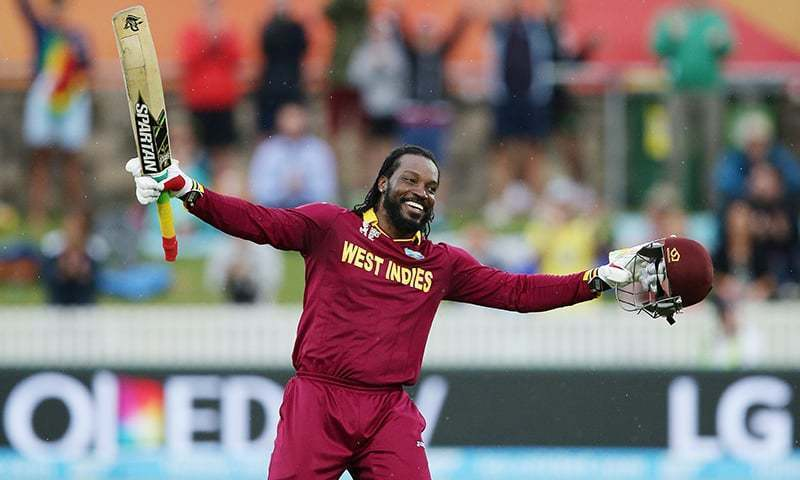 Chris Gayle smashes a 121-metres long six off Liam Plunkett