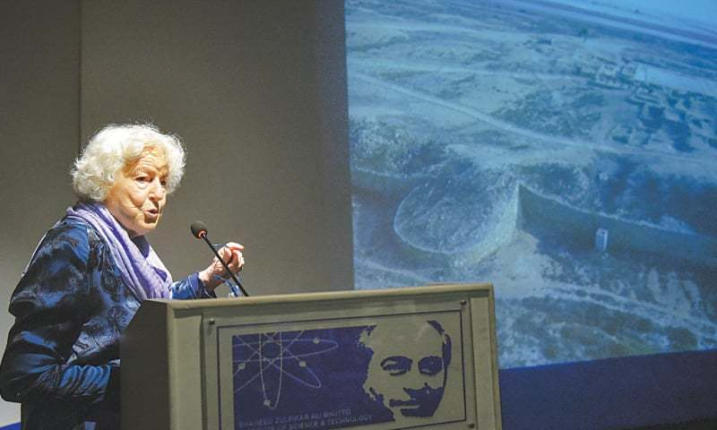 PROF Dr Valeria Fiorani Piacentini speaks at Szabist on Tuesday.—White Star