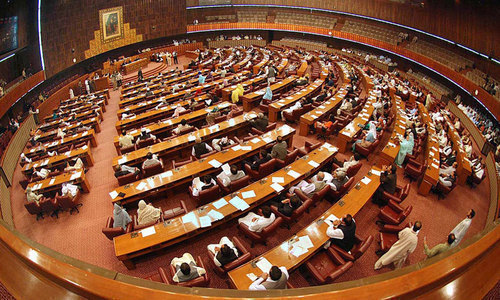 """The resolution regarding the """"baseless Indian propaganda against Pakistan"""" was presented by NA Speaker Asad Qaiser during a session of the NA which began today. — File"""