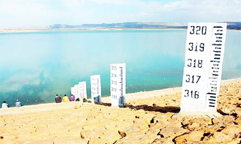 HUB: A view of water in the Hub dam. Heavy rain in the dam's otherwise parched catchment area has raised water level in the reservoir to 295 feet which was rising on Thursday evening. According to the Karachi Water and Sewerage Board, the dam's dead level is about 276ft and has a capacity of 339ft. In case of more rain, water will be supplied from the reservoir to Karachi's East and Central districts until the end of summer, which is welcome because the megacity's water requirement increases during that period.—PPI