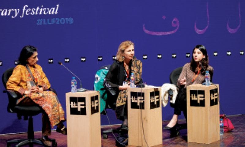 Ayesha Jalal, Victoria Schofield and Anam Zakaria engage in a session, titled Kashmir Scars, at the Lahore Literary Festival. — White Star