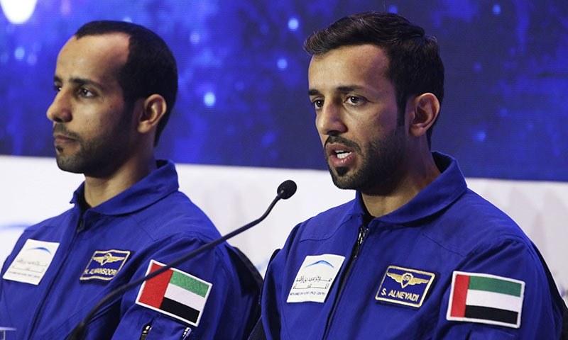 Emirati astronaut Sultan al-Neyadi, right, speaks to journalists with astronaut Hazza al-Mansoori, in Dubai, United Arab Emirates on Monday. — AP