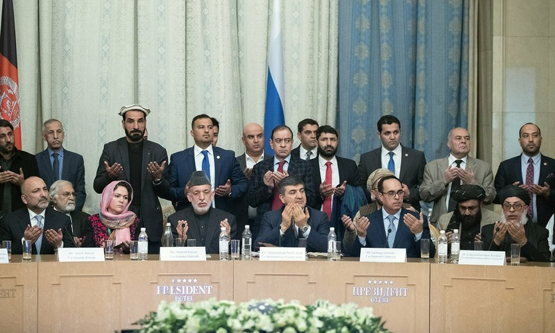 "At the meeting in Moscow: former Afghan President Hamid Karzai, third from left, Taliban political chief Sher Mohammad Abbas Stanikzai, right, former national security advisor Mohammad Hanif Atmar and other participants of the ""intra-Afghan"" talks. ─ AP"
