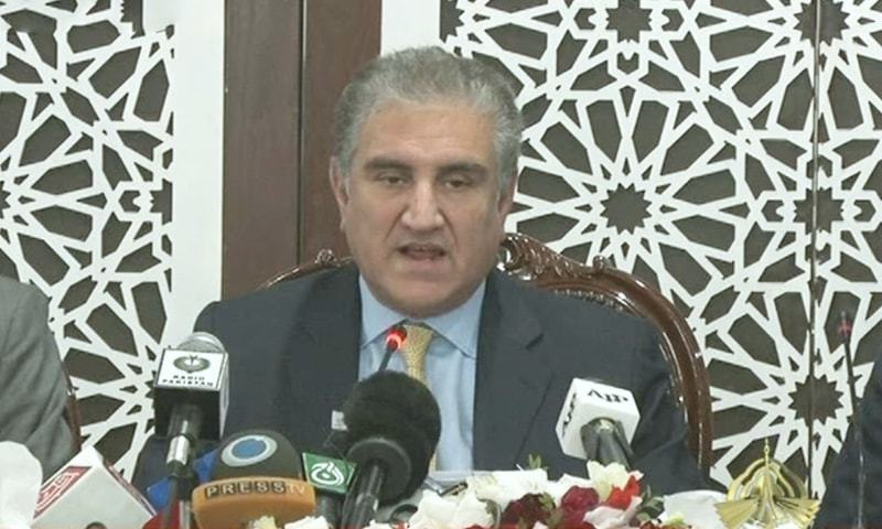 Foreign Minister Shah Mahmood Qureshi is addressing a press conference in Islamabad. — DawnNewsTV
