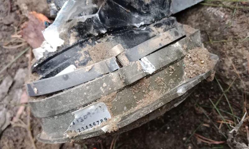 بھارتی طیارے سے گرنے والا ہتھیار—فوٹو:ڈی جی آئی ایس پی آر ٹوئٹر