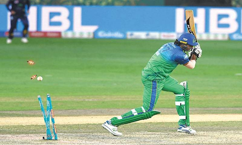 DUBAI: Multan Sultans' Mohammad Irfan is cleaned up by Sohail Tanvir for a golden duck.—Courtesy PCB