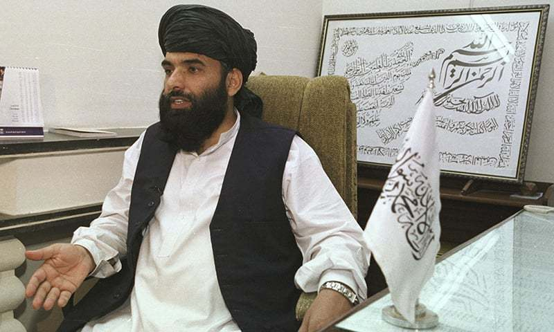 In this Nov 14, 2001 file photo, Taliban leader Suhail Shaheen, then deputy ambassador of the Islamic Republic of Afghanistan, gives an interview in Islamabad. — AP/File