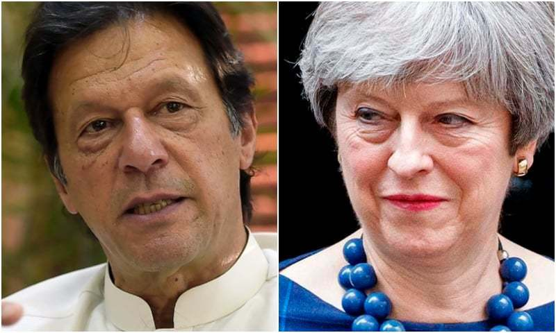 Prime Minister Imran Khan and UK Prime Minister Theresa May had a telephone conversation about tensions with India on Sunday. — AFP/File