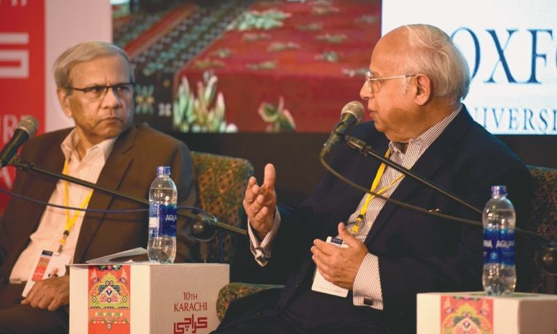 Ikram Sehgal and Kaiser Bengali answer questions at the session.—White Star