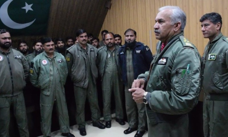 Chief of the Air Staff Air Chief Marshal Mujahid Anwar Khan addresses PAF personnel at forward operating bases. — PAF