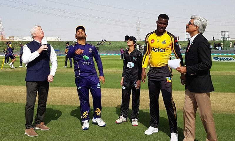 Sarfaraz Ahmed and Darren Sammy pictured during match toss. — PSL