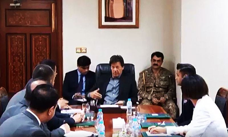 Prime Minister Imran Khan on Wednesday met with Xuzhou Construction Machinery Group Co, Ltd (XCMG), Global Sales President/General Manager, Dr Hanson Liu, as well as the HSS Group Chairman, Syed Saman Hashmi, at the PM Office in Islamabad. — Photo courtesy Radio Pakistan