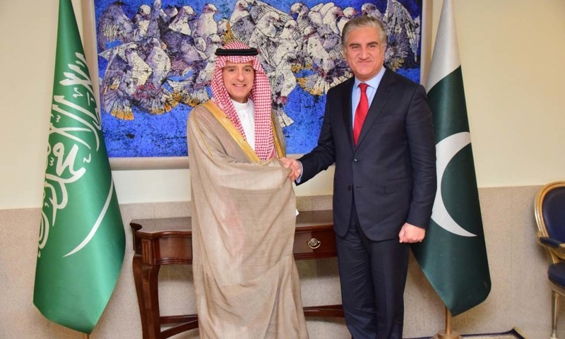 Saudi State Minister for Foreign Affairs Adel al-Jubeir with Foreign Minister Shah Mahmood Qureshi on Thursday. — Photo: Foreign Office