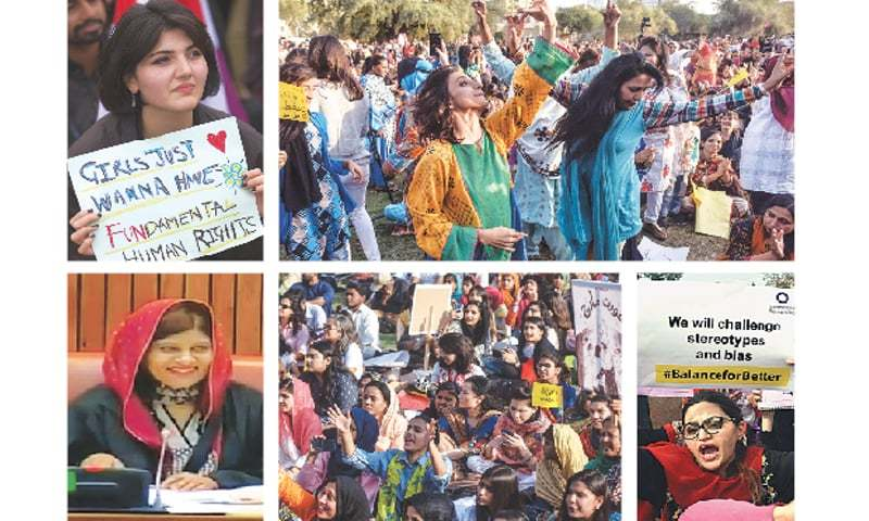 (Clockwise) In this AP photo, a woman takes part in a rally during International Women's Day in Islamabad on Friday, jubilant activists dance at a gathering at Frere Hall in Karachi (Fahim Siddiqi / White Star), in this APP picture a woman holds aloft a placard at a procession organised by Aurat Foundation in Peshawar; women, men and members of the transgender community attend a rally in Karachi and this TV grab shows a beaming Krishna Kumari Kolhi making history after having been asked to preside over the Senate session.—APP