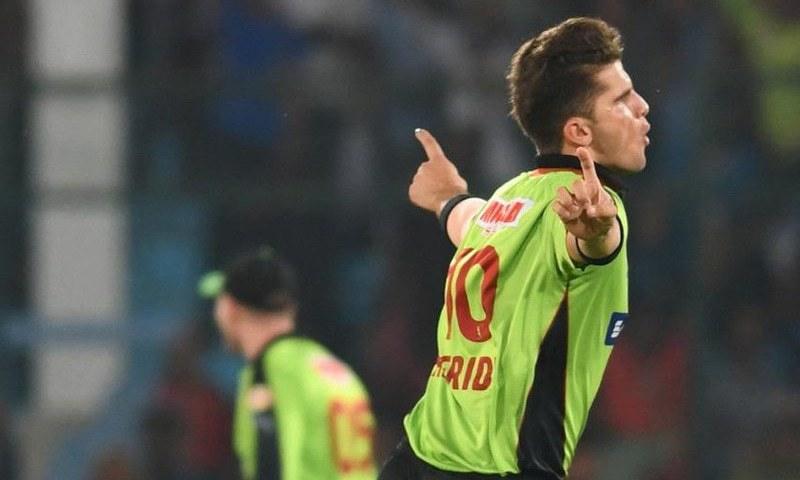 Afridi celebrates after removing the dangerous Ronchi. — PSL