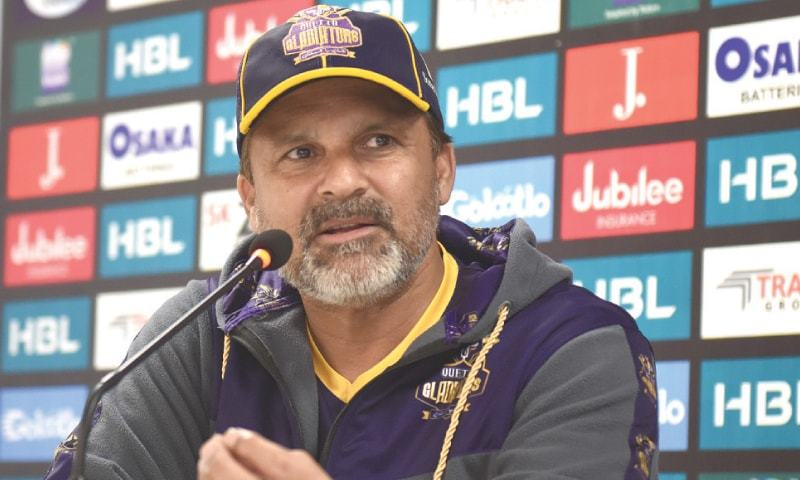 QUETTA Gladiators coach Moin Khan speaks during the press conference on Saturday.—White Star