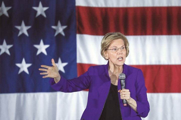 Senator Elizabeth Warren, one of several Democrats running for the party's nomination in the 2020 presidential race, speaks during a campaign event, on Friday in the Queens borough of New York City.—AFP