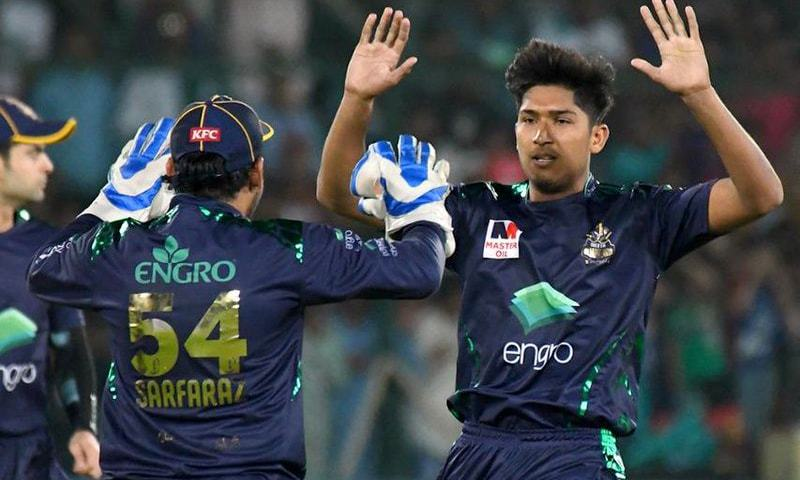 The Gladiators celebrate after Mohammad Hasnain takes Ingram's wicket. — PSL